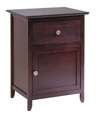 Winsome Night Stand Accent Table with Drawer and Storage Cab