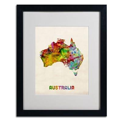 Trademark Fine Art Australia Map Artwork by Michael Tompsett, Black Frame