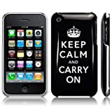 IPHONE 3GS / 3G KEEP CALM AND CARRY ON IMAGE BACK COVER CASE / SHELL / SHIELD - BLACK/WHITE PART OF THE QUBITS ACCESSORIES RANGEby CallCandy