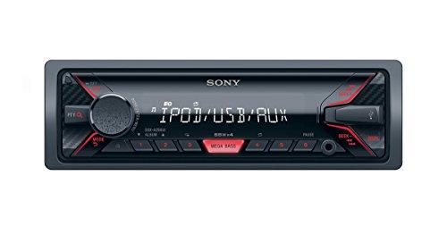 Sony DSX-A200UI Autoradio senza Lettore CD, Ingresso AUX e USB, Controllo diretto di iPhone e iPod, Potenza massima di uscita 4x55W, Nero/Rosso