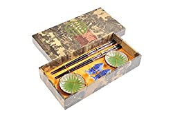 Abacus Asiatica: 'Fish' elegant chopstick set in a decorative box, with carved-wood chopsticks, rests, ceramic bowls (2 pairs of chopsticks, 2 rests, 2 bowls), Mod. CBS-S2-G-H05 (US)