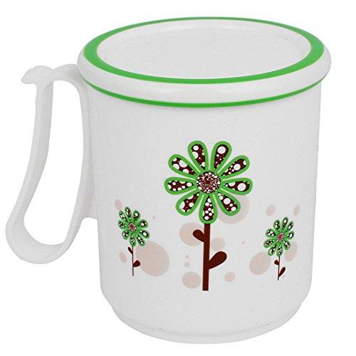 Bouteille Blanc Fleurs vertes Imprimé eau gargariser Coupe Brosse à dents avec couvercle