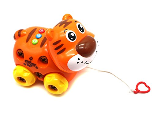 Ver-Baby Childrens Kids Build a Pet Pull-A-Long Musical Tiger Car Construction Playset Includes Toy Tools Build and Play Toy Set