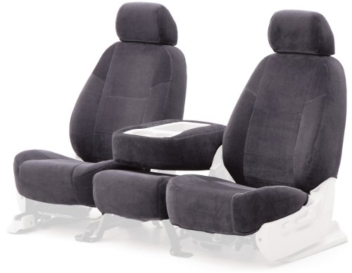 Coverking Custom Fit Front 50/50 Bucket Seat Cover For Select Ford E-Series Models - Velour (Charcoal) front-1065772