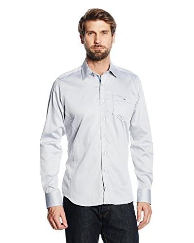 Mattschwarz Camisa Hombre Modern Fit Gris Claro