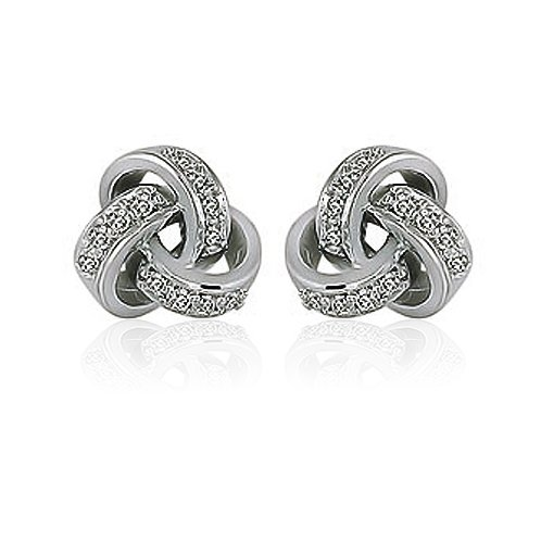 Mothers Day Gifts Bling Jewelry Sterling Silver Pave CZ Love Knot Stud Earrings