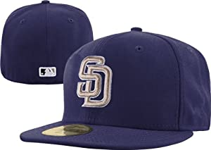 New Era 59Fifty On Field San Diego Padres Blue Gray SD Logo Road Fitted Cap Hat 7 5 8 by New era fits