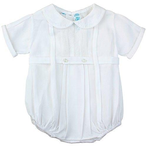 Feltman Brothers Boys Infant White Christening Embroidered Pintucks Creeper (Newborn)