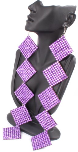Purple 12 Inch Square Poparazzi Earrings Iced Out Light Weight Basketball Wives
