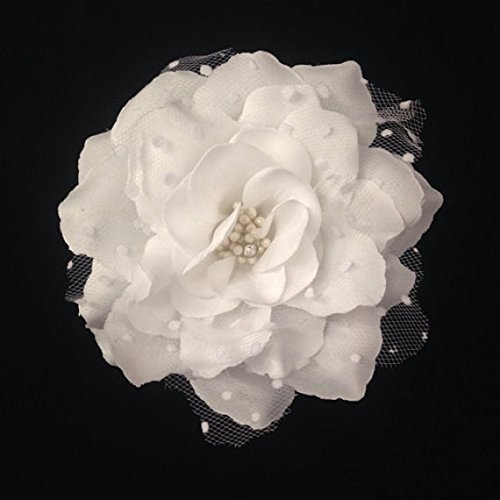 White Wedding Flower Hair Clip 4