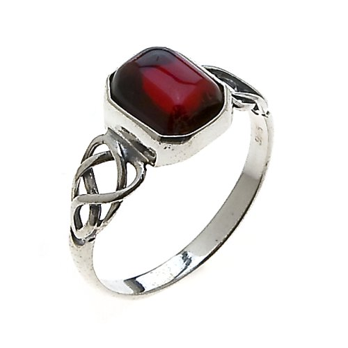 Sterling Silver Cherry Amber Celtic Design Ring, Size 5