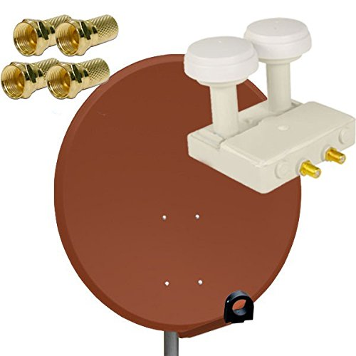 PremiumX Antenne 80cm Stahl , Digitale Sat Anlage Schüssel Spiegel in Ziegelrot + Twin Monoblock 01,dB LNB FULLHD HDTV + 4x F-Stecker Vergoldet | Astra und Hotbird FULLHD Komplett Anlage