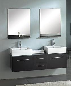 Hanging Bathroom Sink : Bathroom Vanity Set With Dual Ceramic Vessel Sink Hanging Cabinet ...