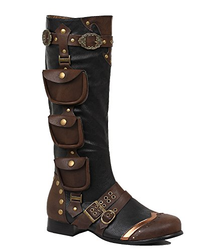 Mens Knee High Boots Steampunk Round Toe Black Brown 1 Inch Heel MENS SIZING