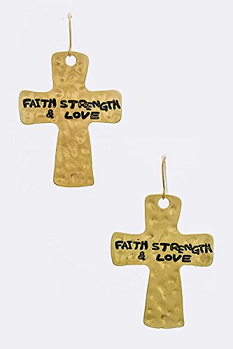 Chic Chelsea Faith, Strength, & Love Cross Earrings (Matted Gold)