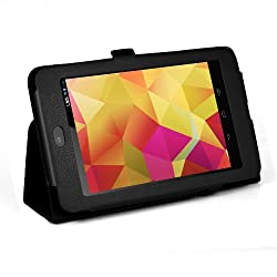 JKase Google Nexus 7 Inch Multi-Touchscreen Tablet Ultra-Slim Series Custom Fit Folio Leather Case Cover with 3-in-1 Built-in Stand (Black)