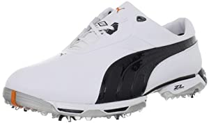 PUMA Men's Zero Limits Golf Shoe,White/Black/Puma Silver,11 M US