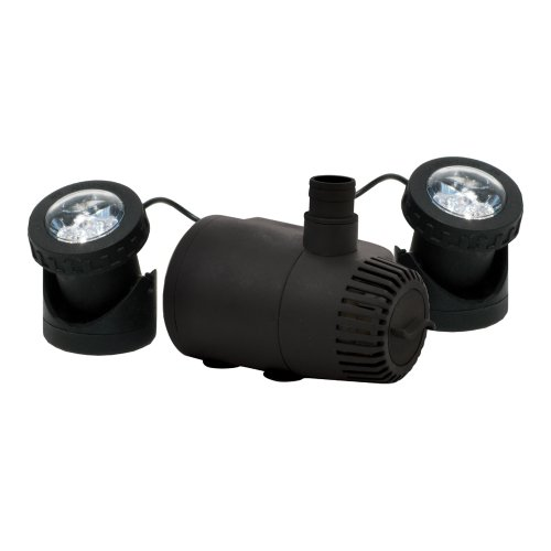 TotalPond MD11400ASL2 400 GPH Fountain Pump with Low Water Shut-Off and 2 Lights