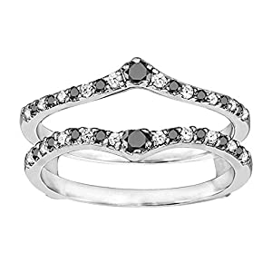 Sterling Silver Genuine Ruby Ring Guard Enhancer set with Black And White Cubic Zirconia (0.74 Ct. Twt.)