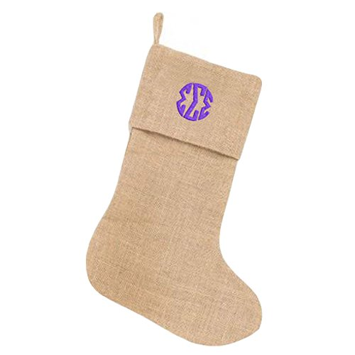sigma-sigma-sigma-circle-monogram-burlap-christmas-stocking-tan-w-purple