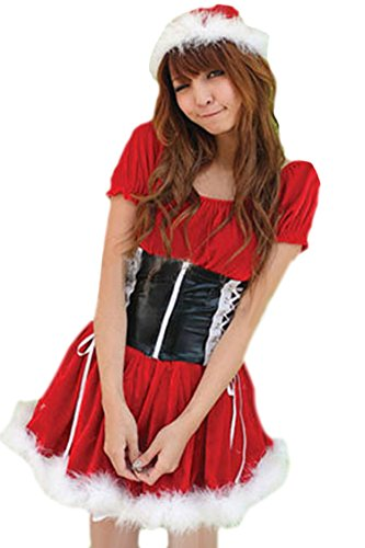 Pink Queen Womens/Girls Red Velvet Miss Santa Claus Costume Dress Christmas Outfits