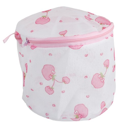 Plastic Frame Pink Apple Meshy Folding Underwear Bra Washing Bag back-169454
