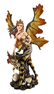 Autumn Leaf-Winged Dragon Fairy Statue Faerie