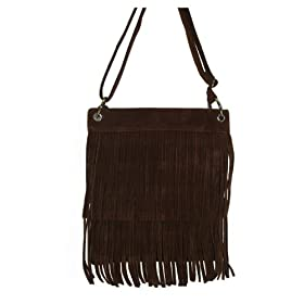 Brown North South Faux Suede Fringe Bag Purse
