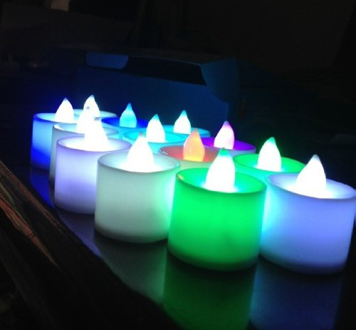 Samyo Set Of 24 Battery Flameless & Smokeless Color-Changing Led Tealight Candles