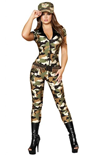 Sexy Camouflage Military Girl Catsuit Halloween Costume