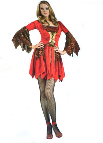 Adult Secret Witches Sexy Flame Devil Witch Dress Up Costume