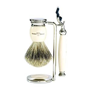 Edwin Jagger S281k61 Handmade English Faux Ivory Three Piece Shaving Set  Ivory