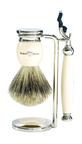 Edwin Jagger Handmade English Imitation Ivory 3 Piece (gillette Mach 3) Shaving Set With Best Badger Brush S281k61