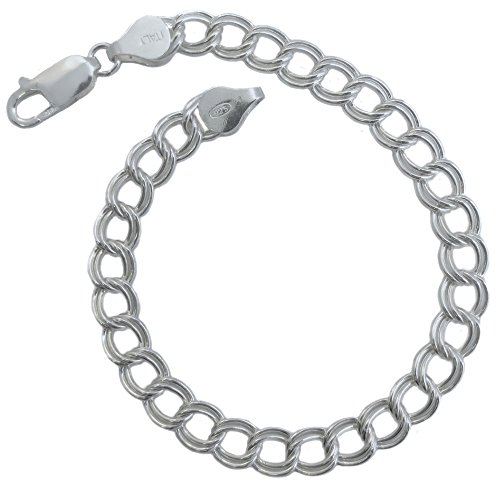 Sterling Silver 6mm Charm Double Link Bracelet .925 Made in Italy. 7, 8 Inches