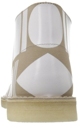 Clarks Men's Desert Pattern Chukka Boot,White/Tan,10 M US