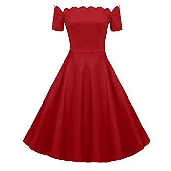 ACEVOG Women's Wave Point 1950s Style Vintage Swing Party Off Shoulder Dress