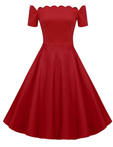 ACEVOG 1950's Short Sleeve Retro Polka Dot Vintage Dress with Defined Waist Design Red XL