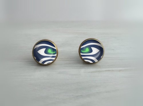 Seattle-Seahawks-Inspired-Glowing-Eye-Glass-Dome-Earrings-Choose-Studs-or-Dangles-in-Silver-Plated-Stainless-Steel-or-Bronze