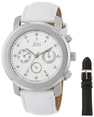 Las mujeres JBW J6276-setE intercambiables en negrilla del diamante de cuero de la venda de reloj