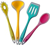 Premium Silicone Kitchen Utensil Set, New 4 Piece Cute Cooking Tool Set By YumYum Utensils