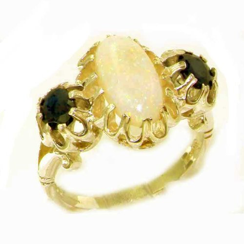 Large Luxury Solid 14K Yellow Gold Natural Opal & Sapphire Victorian Inspired Ring - Size 9.75 - Finger Sizes 5 to 12 Available - Perfect Gift for Birthday, Christmas, Valentines Day, Mothers Day, Mom, Mother, Grandmother, Daughter, Graduation, Bridesmaid.