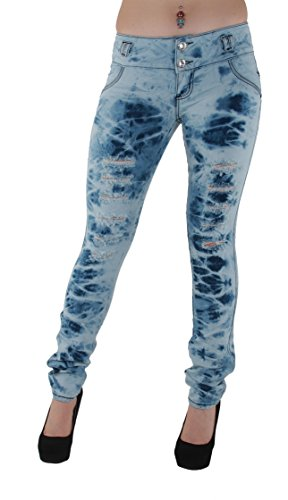 DJ1555 -Colombian Design, Stretch Butt Lift, (Levanta Cola) Ripped Skinny Jeans in Blue Tie-dye Size 1 (Tie Dye Jeans compare prices)