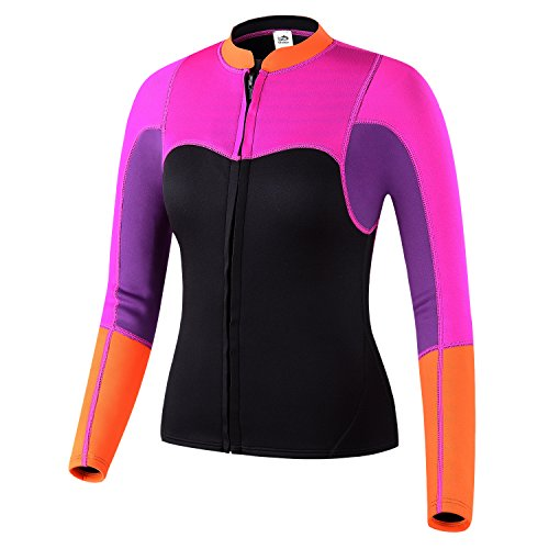 Lemorecn Womens 2mm Neoprene Long Sleeve Jacket Surfing Swimsuit Front Zipper Wetsuit Top (XX-Large, Purple+rosered) (Wet Suit For Women compare prices)