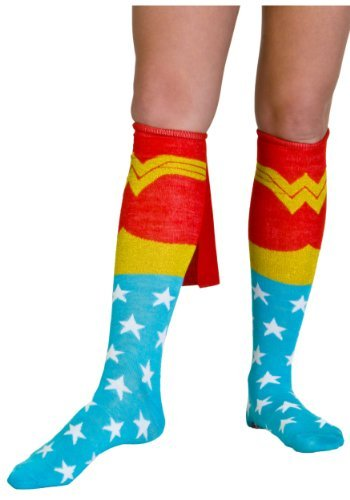 Bioworld Wonder Woman Knee High Cape Sock-Red-One Size