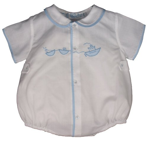 Feltman Brothers Infant Baby Boys White Bubble Outfit With Embroidered Tugboat-Newborn front-828624