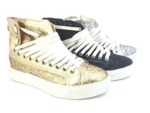 CHIC NANA . Chaussure Mode Baskets compensée cheville femme strass brillant.