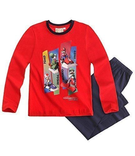 Super Mario Manica Lunga Set Pigiama rosso, taglie da 3a 10anni Rosso rosso