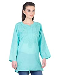 YAK International Cotton Green Round Neck Kurti For Women - B00UAAVW7K