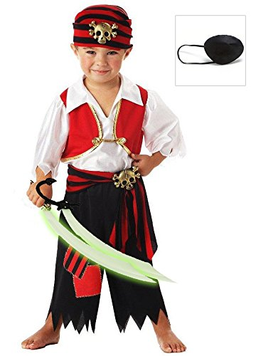 Ahoy Matey! Pirate Toddler Costume with Eye Patch and Sword