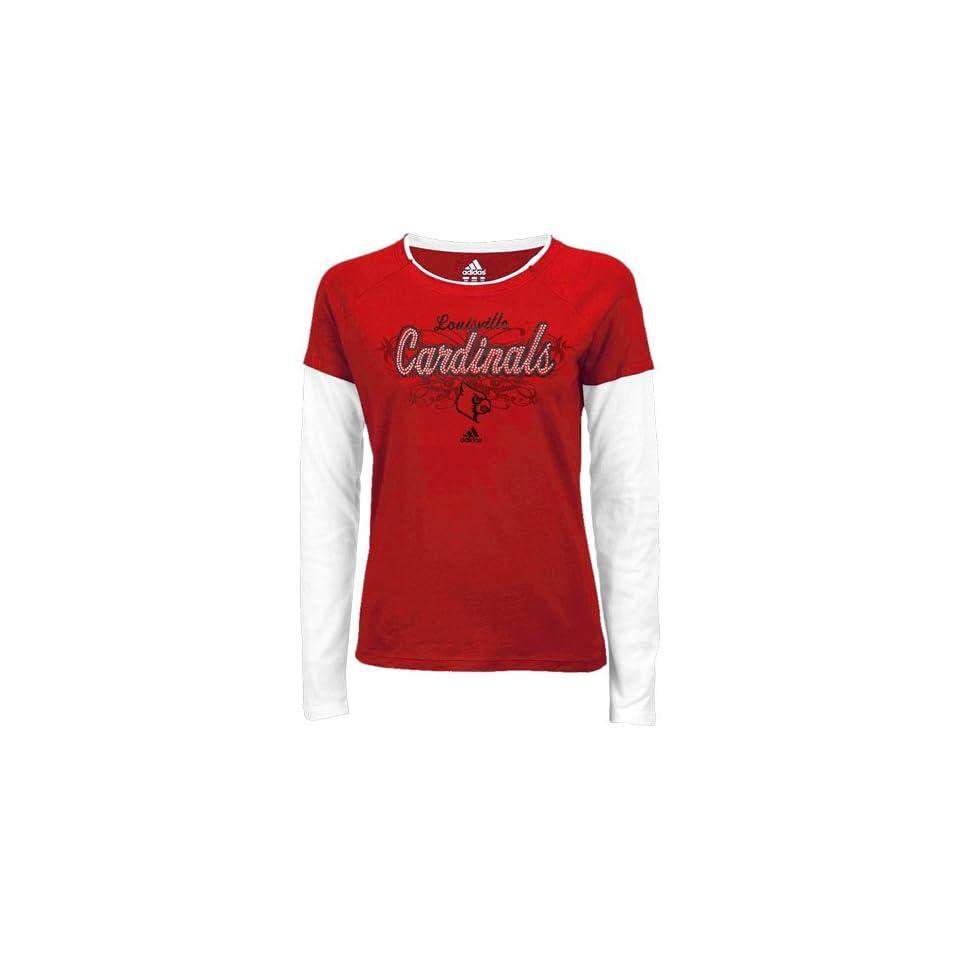 adidas Louisville Cardinals Ladies Red Rhinestone Script Layered Long Sleeve T shirt